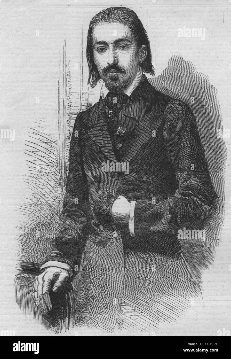 Henri Wieniawski the violinist at Jullien's concerts. Portraits 1858. The Illustrated London News - Stock Image
