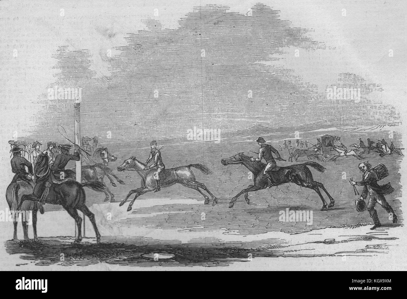 Newmarket in the olden time. Suffolk 1845. The Illustrated London News - Stock Image