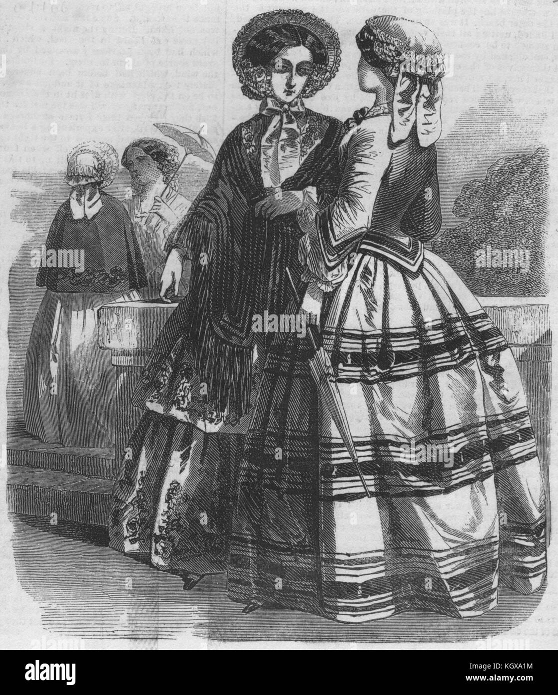 Paris fashions for May 1852. The Illustrated London News - Stock Image