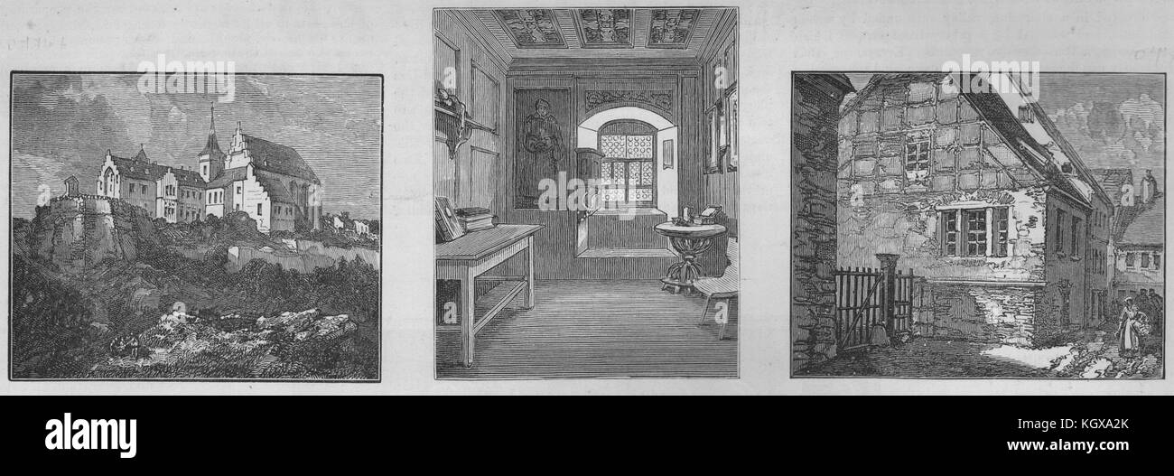 Mansfeld schloss castle; Luther's cell, Erfurt monastery; father's house 1883. The Illustrated London News - Stock Image