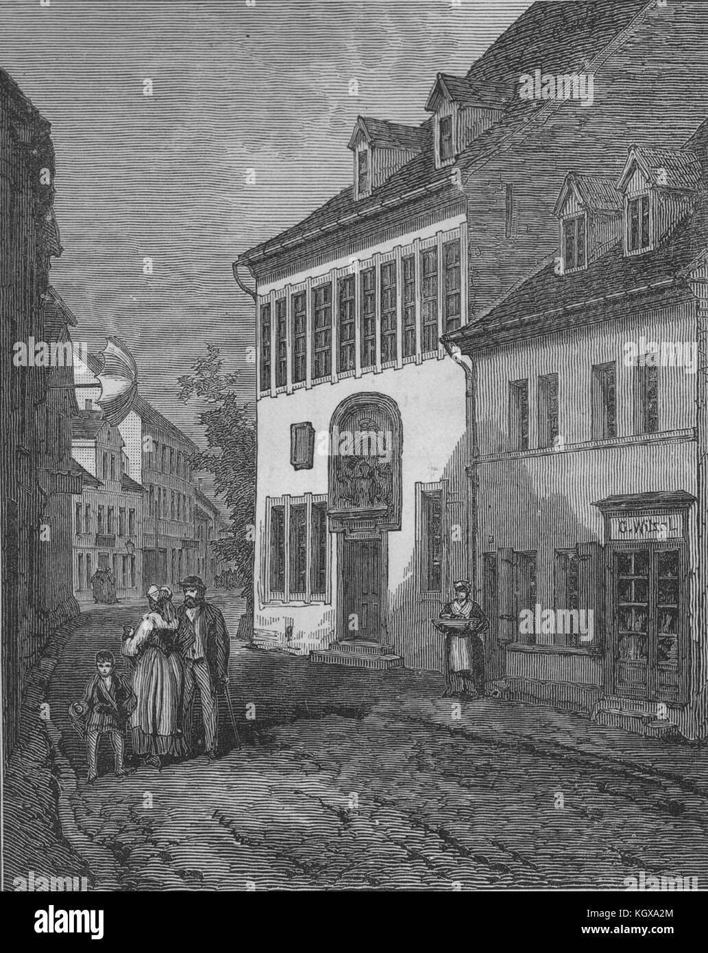House in which Luther was born at Eisleben, Nov. 10, 1483. Saxony-Anhalt 1883. The Illustrated London News Stock Photo