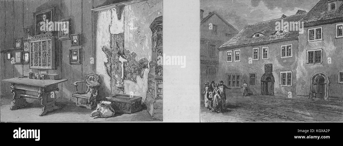 Luther's room in the Wartburg, Eisenach; Luther's school, Mansfeld 1883. The Illustrated London News - Stock Image