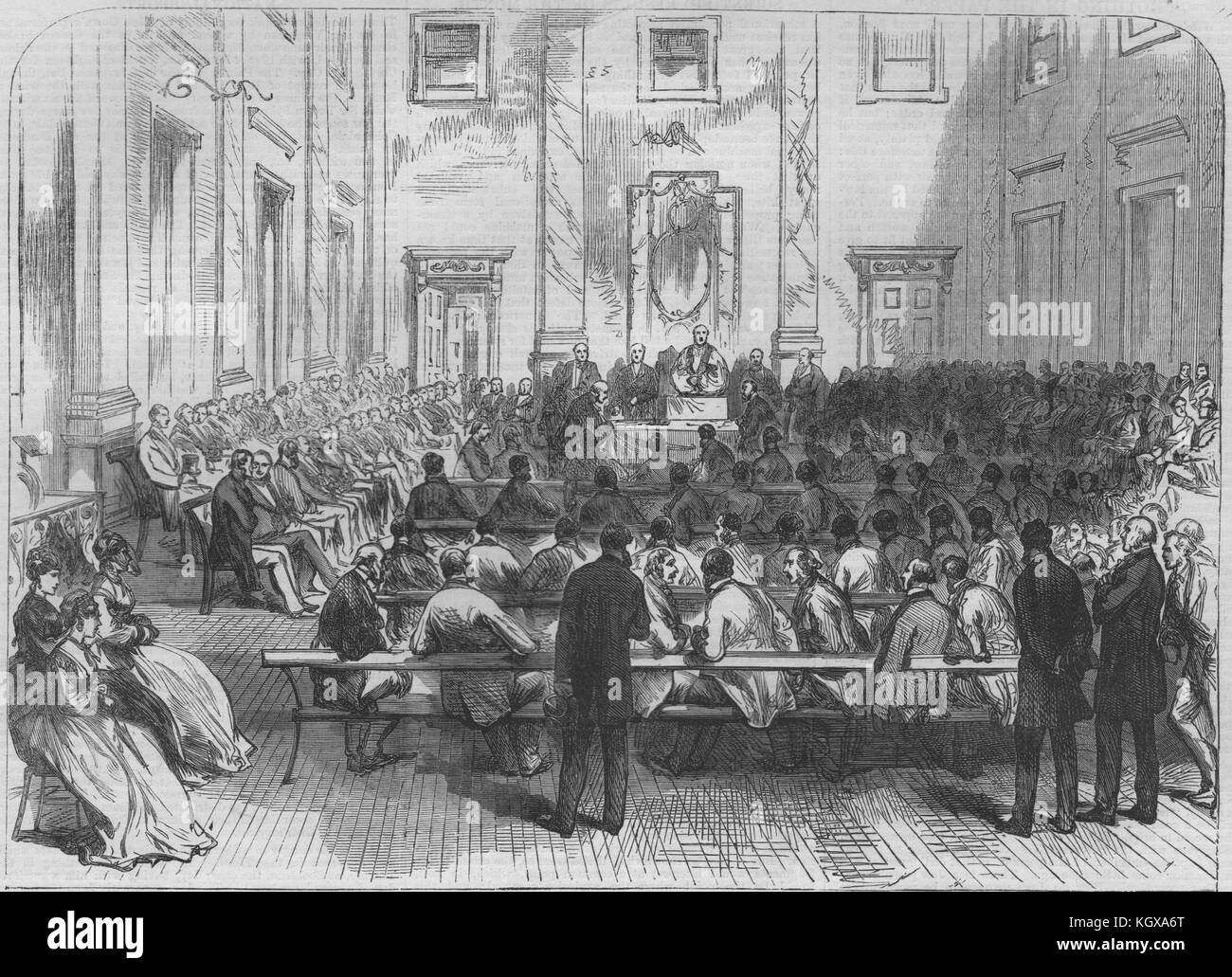 Lay church members mtg in the Assembly Rooms, Lincoln. Bishop in the chair 1869. The Illustrated London News - Stock Image