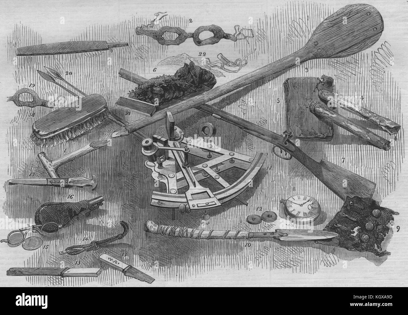 Franklin Expedition relics Paddle Goggles Gun Chronometer Sextant Snuffbox 1859. The Illustrated London News - Stock Image