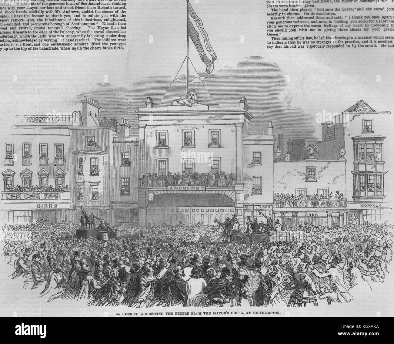 M. Kossuth addressing the people from the Mayor's at Southampton 1851. The Illustrated London News - Stock Image
