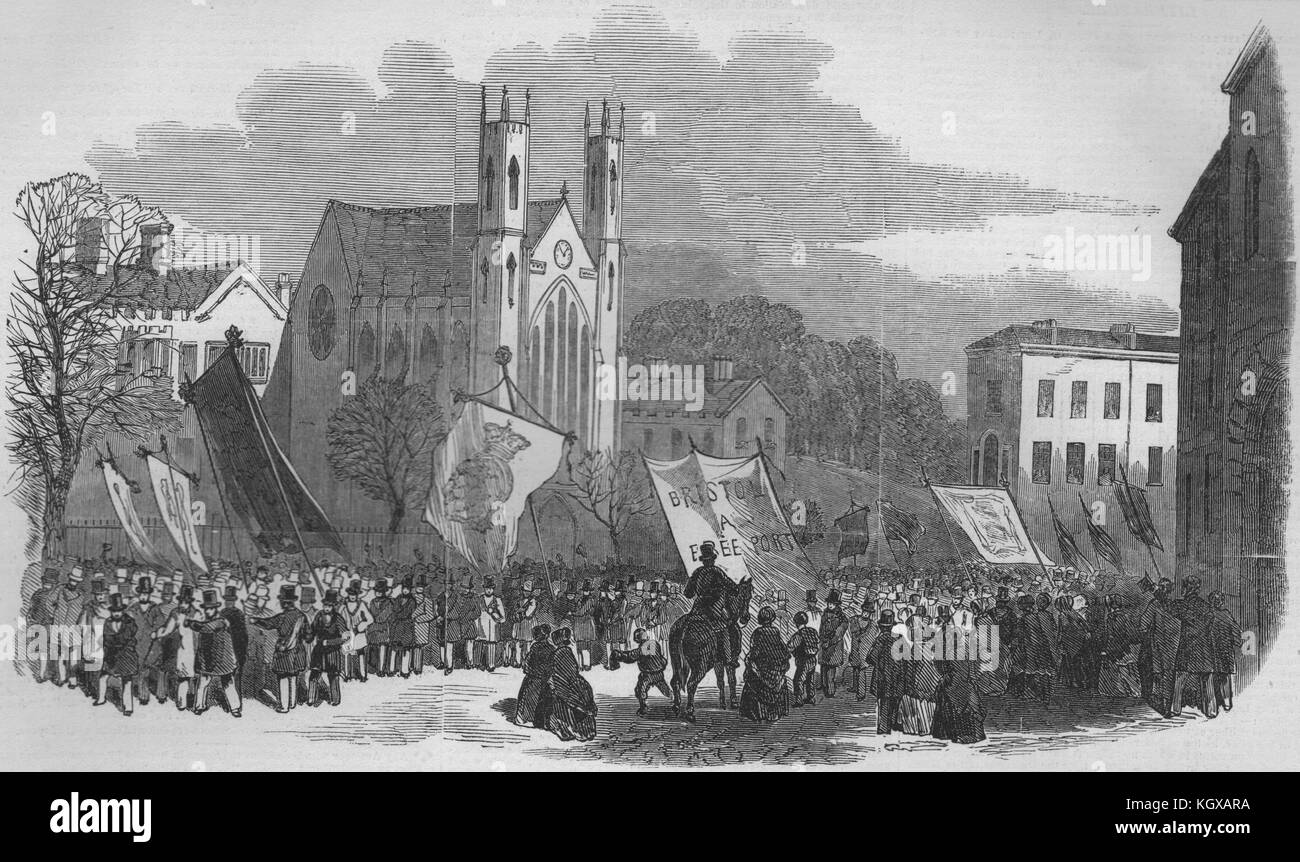 Bristol Fete. Procession of the trades at the top of Park Street 1848. The Illustrated London News - Stock Image