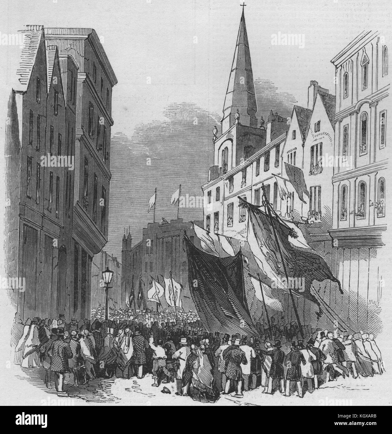 Bristol Fete. The procession in Wine Street 1848. The Illustrated London News - Stock Image