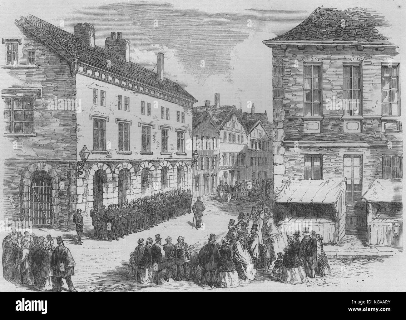 Danish troops at Altona awaiting Federal troops to quit the guardhouse 1864. The Illustrated London News - Stock Image