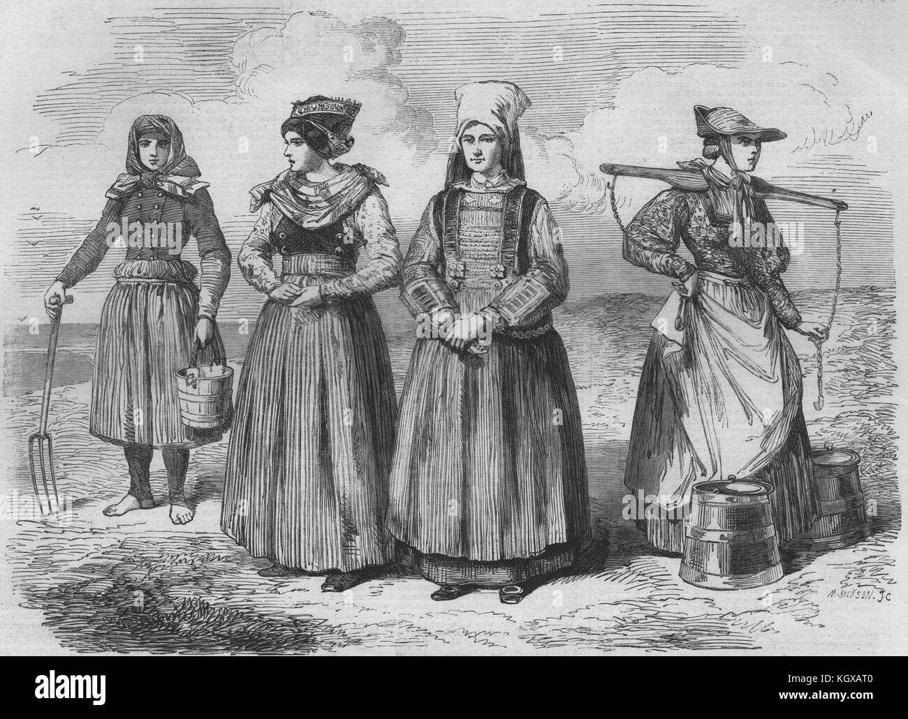 Schleswig ladies costumes Blavand's Bay Fohr Ostenfellt Dannevirke 1864. The Illustrated London News - Stock Image
