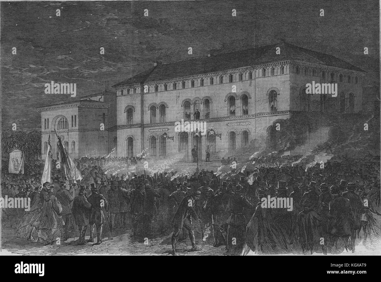 Torchlight welcome to Prince Frederick in Kiel at the Railway Hotel 1864. The Illustrated London News - Stock Image