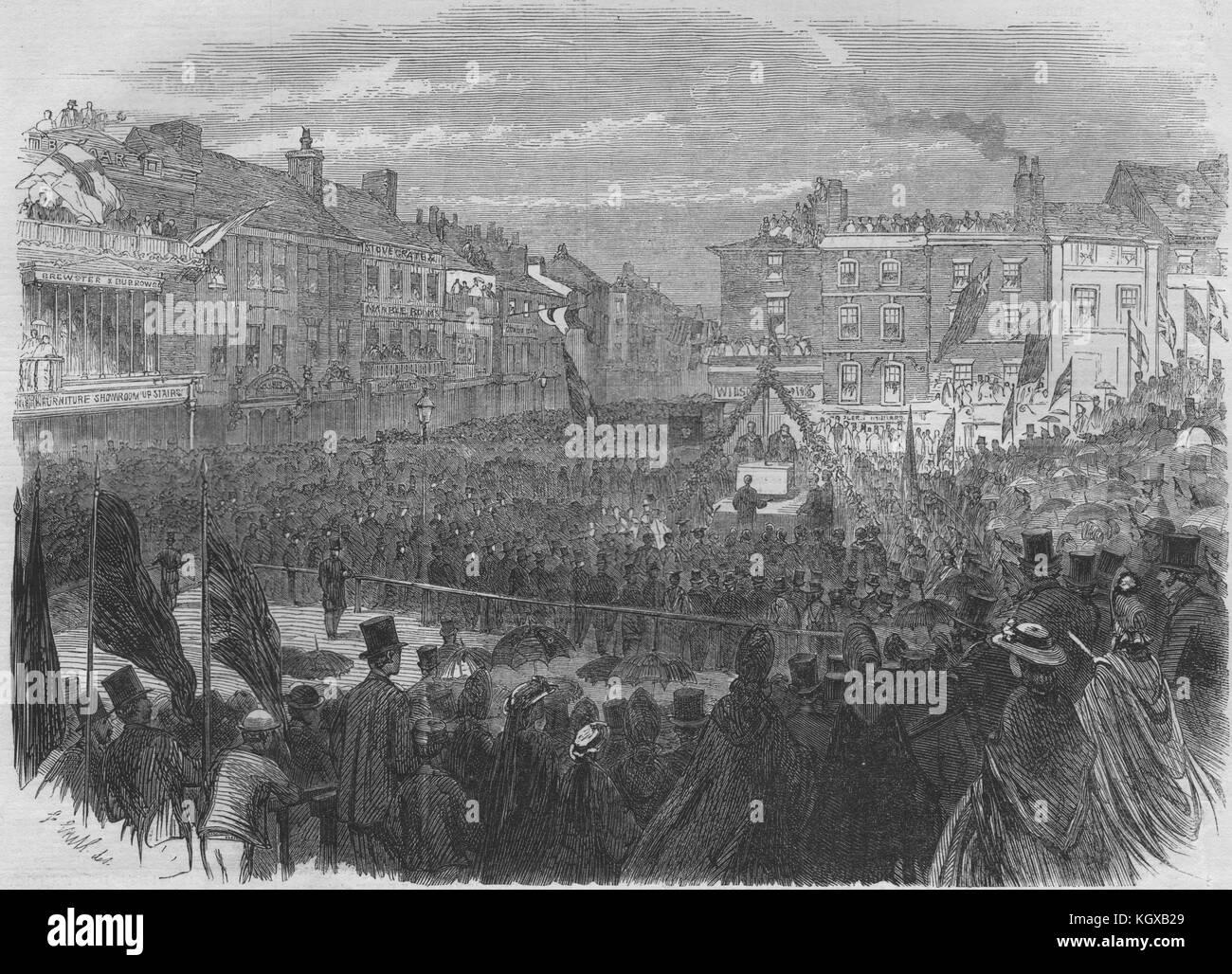 Mayor laying keystone of the new Preston town hall. Lancashire 1862. The Illustrated London News - Stock Image