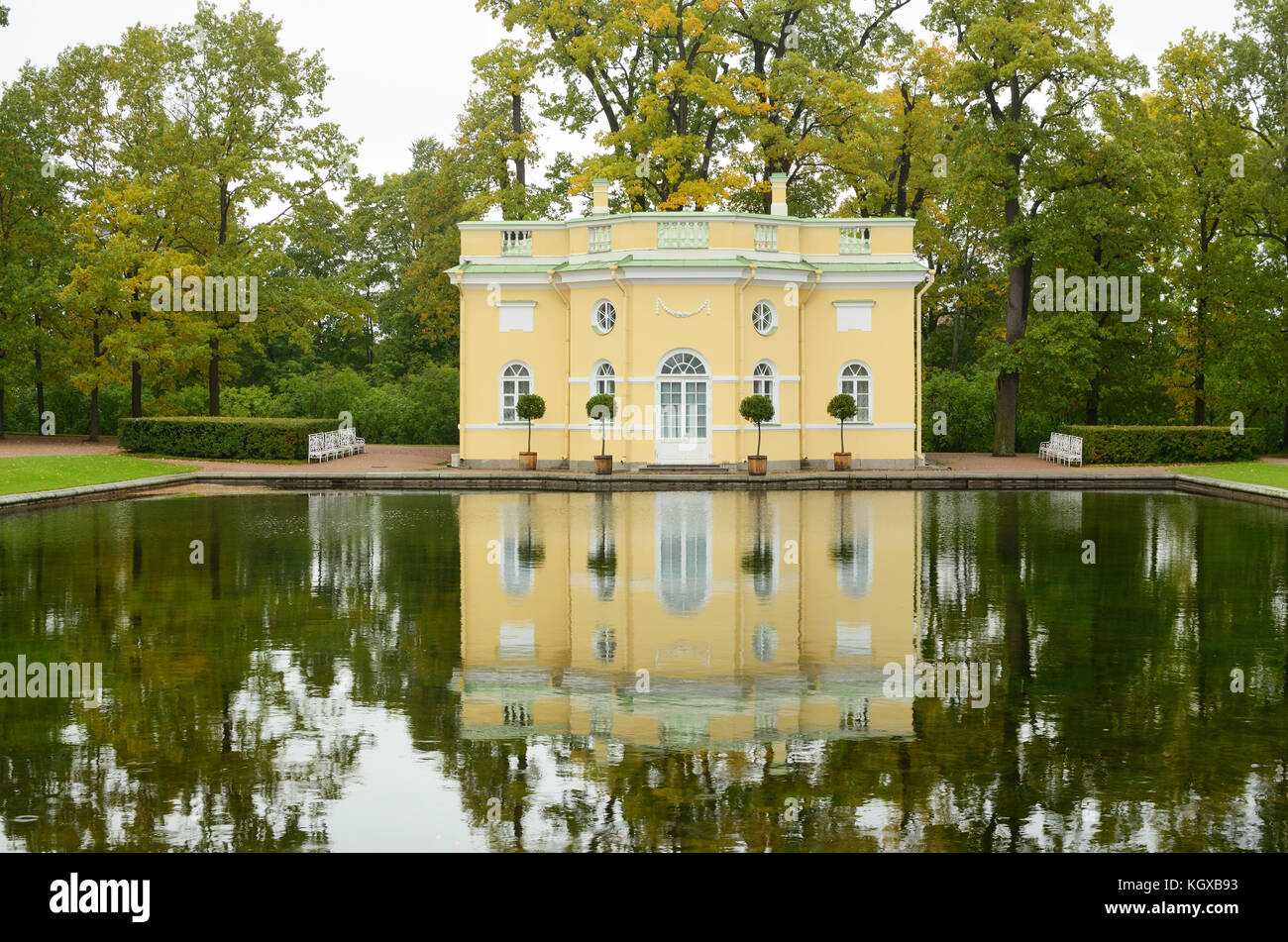 24.09.2016.Russia.Pushkin.Catherine Park.The picture shows a bath designed for the aristocrats. - Stock Image