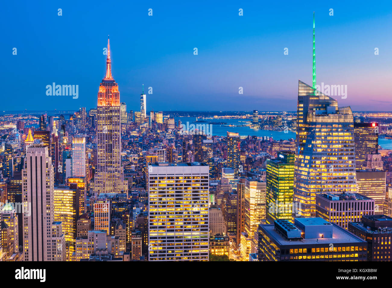 New York Skyline, manhattan skyline, Empire State Building, at night, New York City, United States of America, North - Stock Image