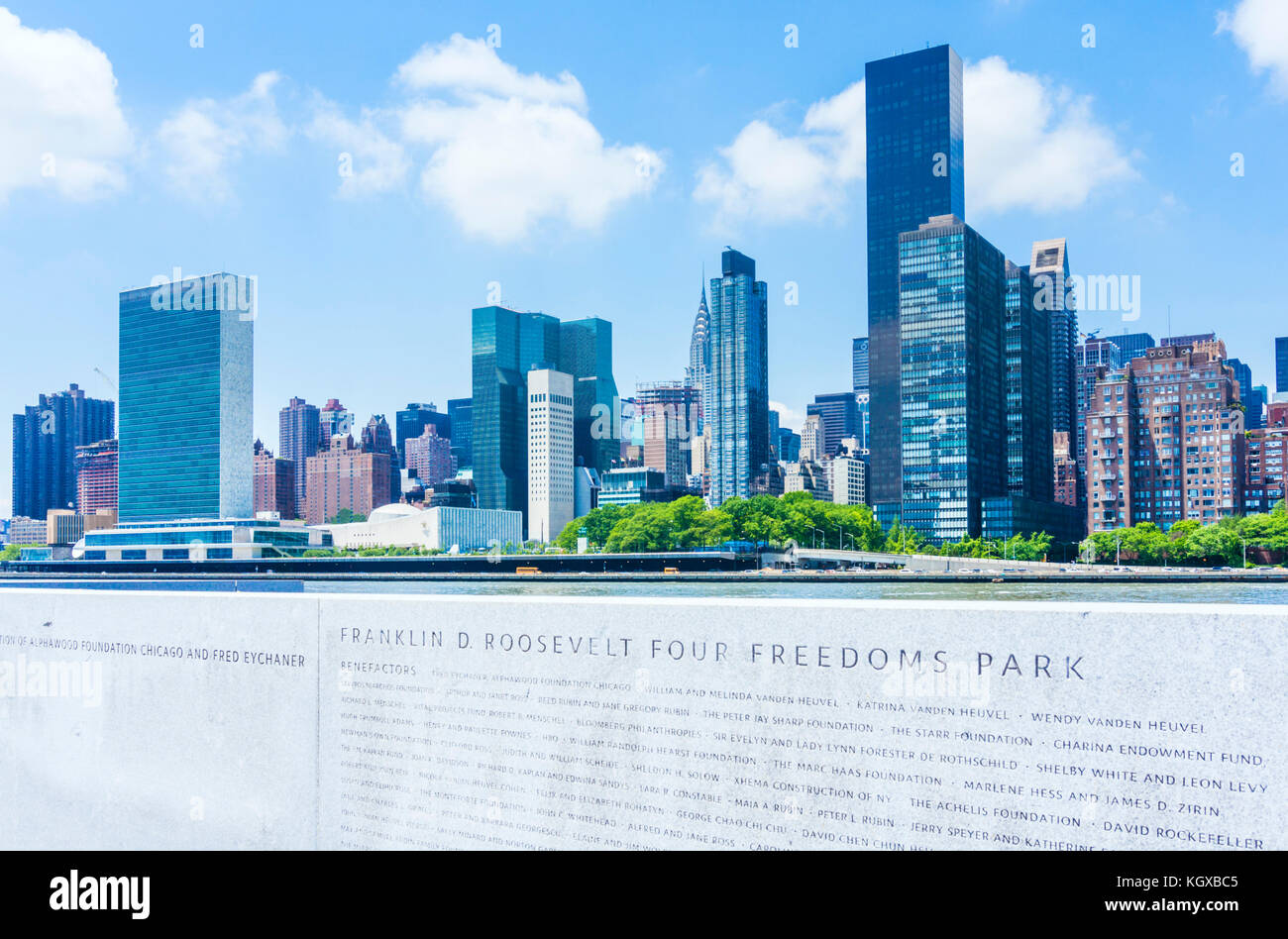 New york usa new york skyline The Franklin D. Roosevelt Four Freedoms Park Roosevelt Island Manhattan skyline manhattan - Stock Image