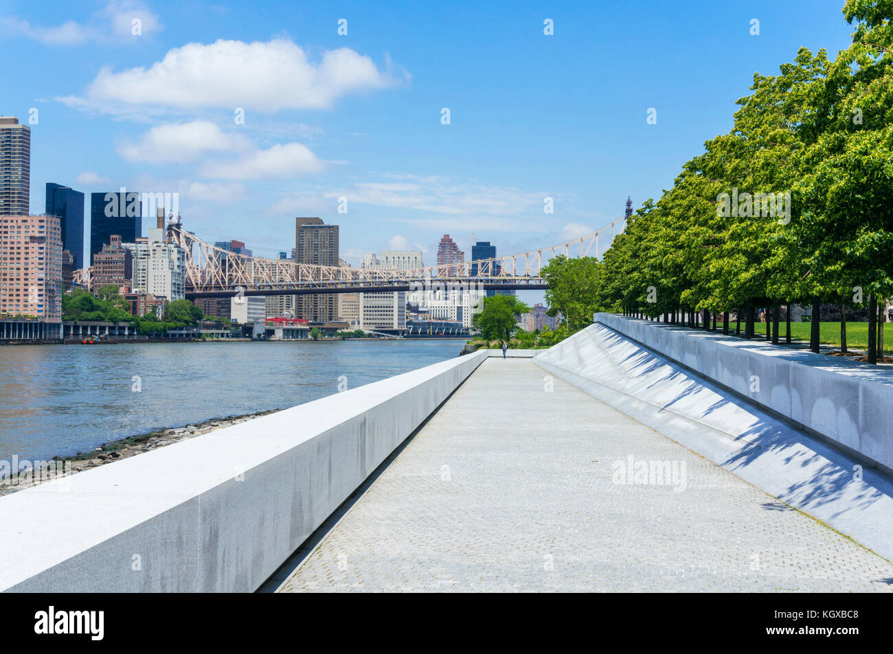 New york usa new york ed koch Queensborough Bridge over Roosevelt Island and the east river connecting Queens with - Stock Image