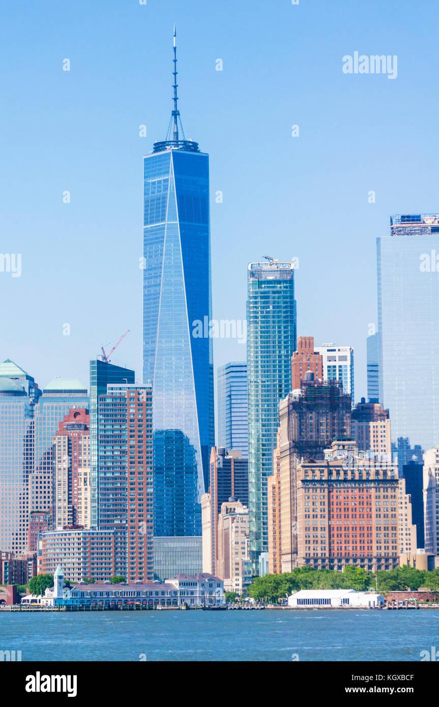 skyline New york city usa new york skyline manhattan skyline with skyscrapers including the freedom tower lower - Stock Image