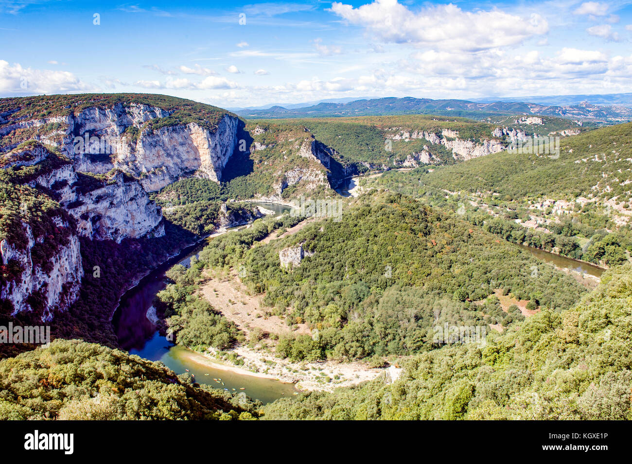 Europe. France. Rhone-Alpes. Gorges of Ardèche. Cirque of Madeleine, a bend in the Ardeche River - Stock Image