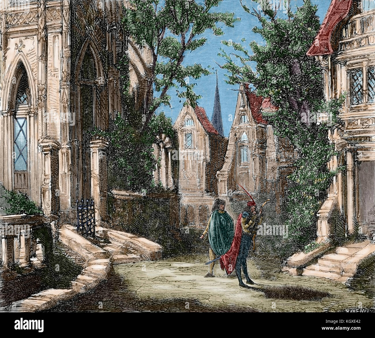German Legend. Faust and Mephistopheles. Engraving by Ravenel. 'Semanario Familiar Pintoresco', 1876. Colored. - Stock Image