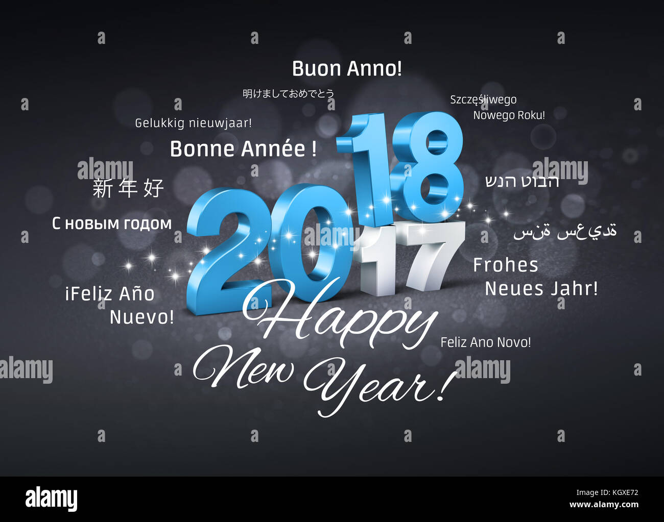 Blue Date 2018 Above 2017 And Happy New Year Greetings In Multiple