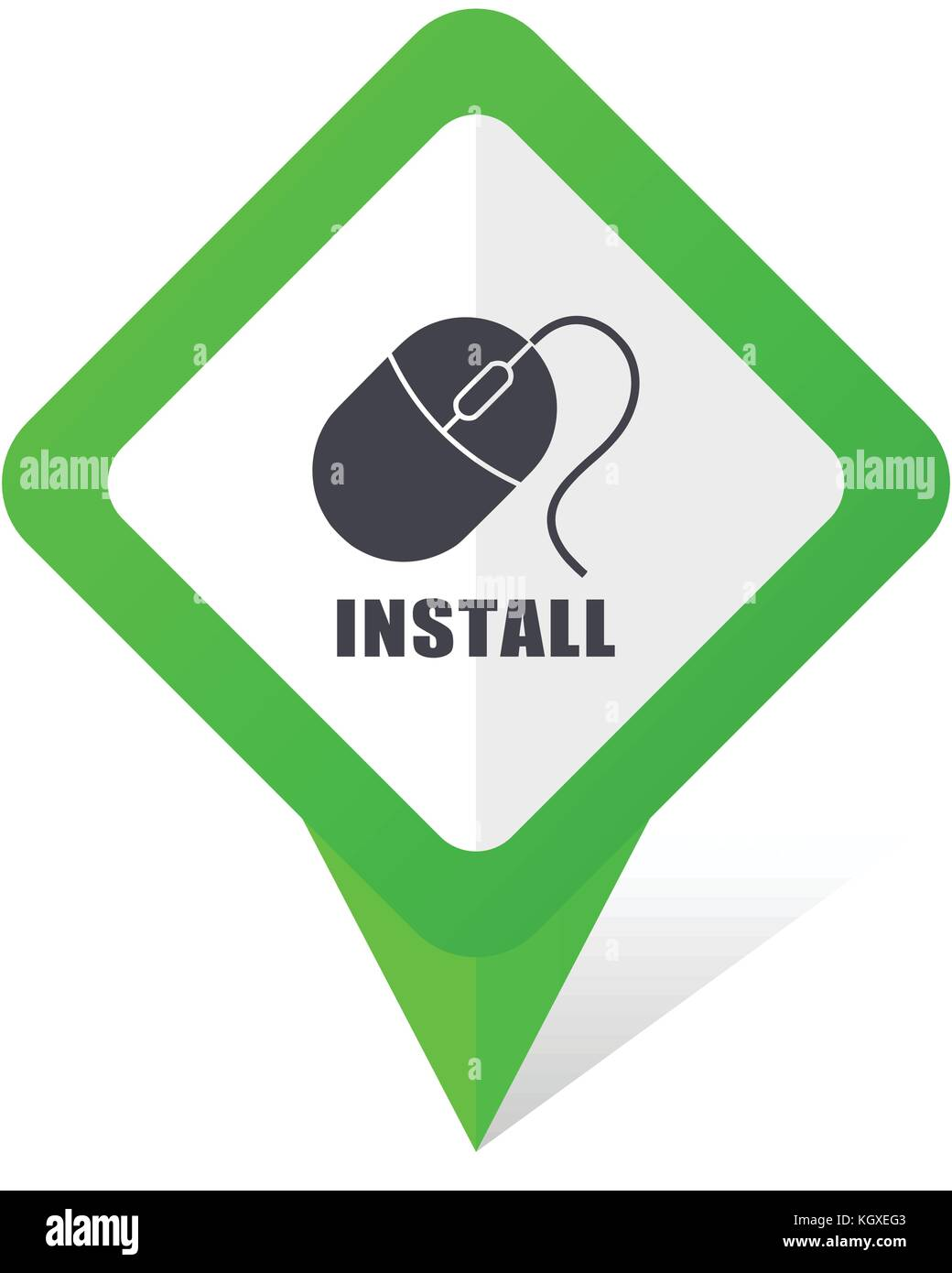 Install green square pointer web and mobile phone vector
