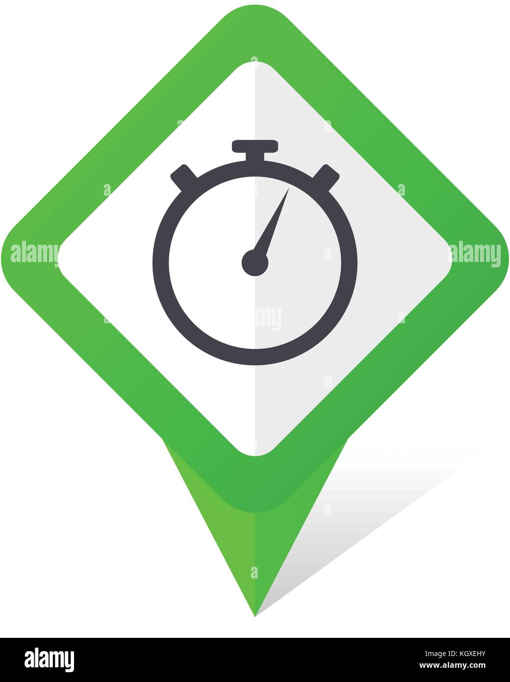 stopwatch green square pointer web and mobile phone vector icon in eps 10 on white background with shadow - Stock Image