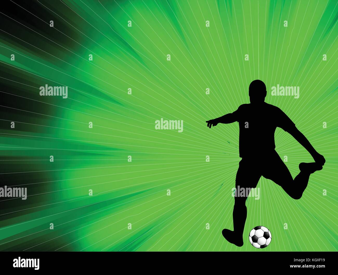 soccer player silhouette on the abstract background - vector - Stock Image