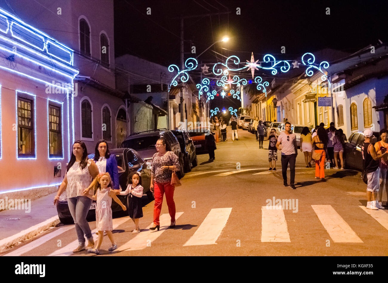 Sao Paulo, Brazil, December 17, 2016: People observe the decoration of Christmas in a public square in the city - Stock Image