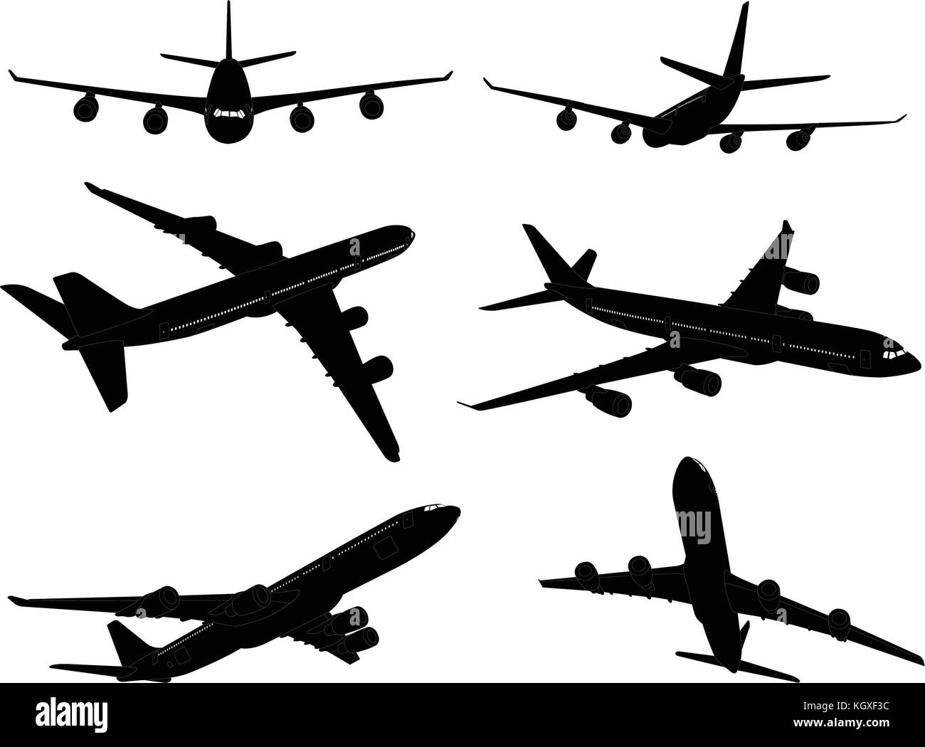 big commercial airplanes silhouettes - vector - Stock Image