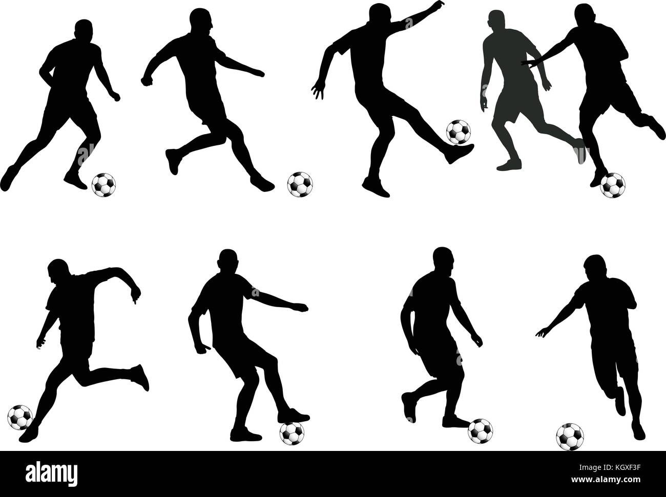 soccer players detailed silhouettes set - vector - Stock Vector