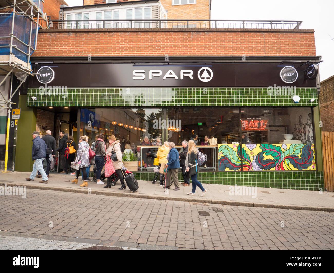 The new Eat 17 Spar and whole food shop and restaurant Bishop's Stortford, Hertfordshire UK Stock Photo