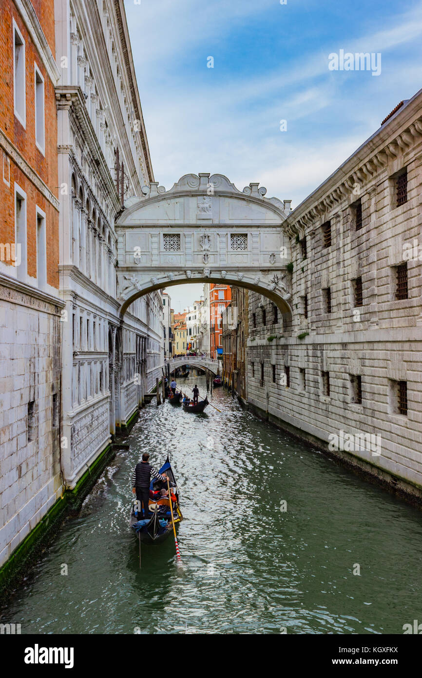 View of the famous Bridge of Sighs in Venice Stock Photo