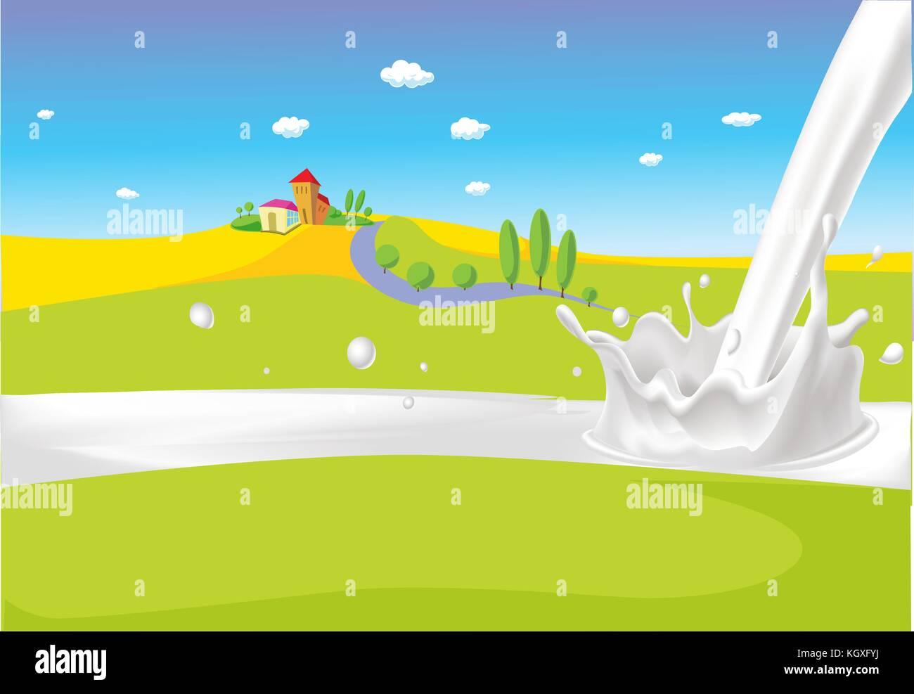 landscape with milk river vector illustration milk splash stock vector image art alamy https www alamy com stock image landscape with milk river vector illustration milk splash 165311094 html