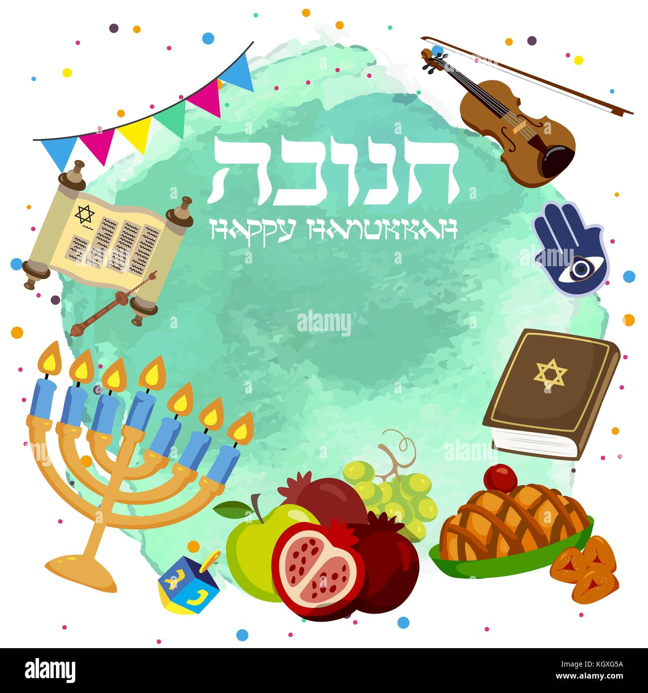Colorful Origami Happy Hanukkah Greeting card on blue background - Stock Vector