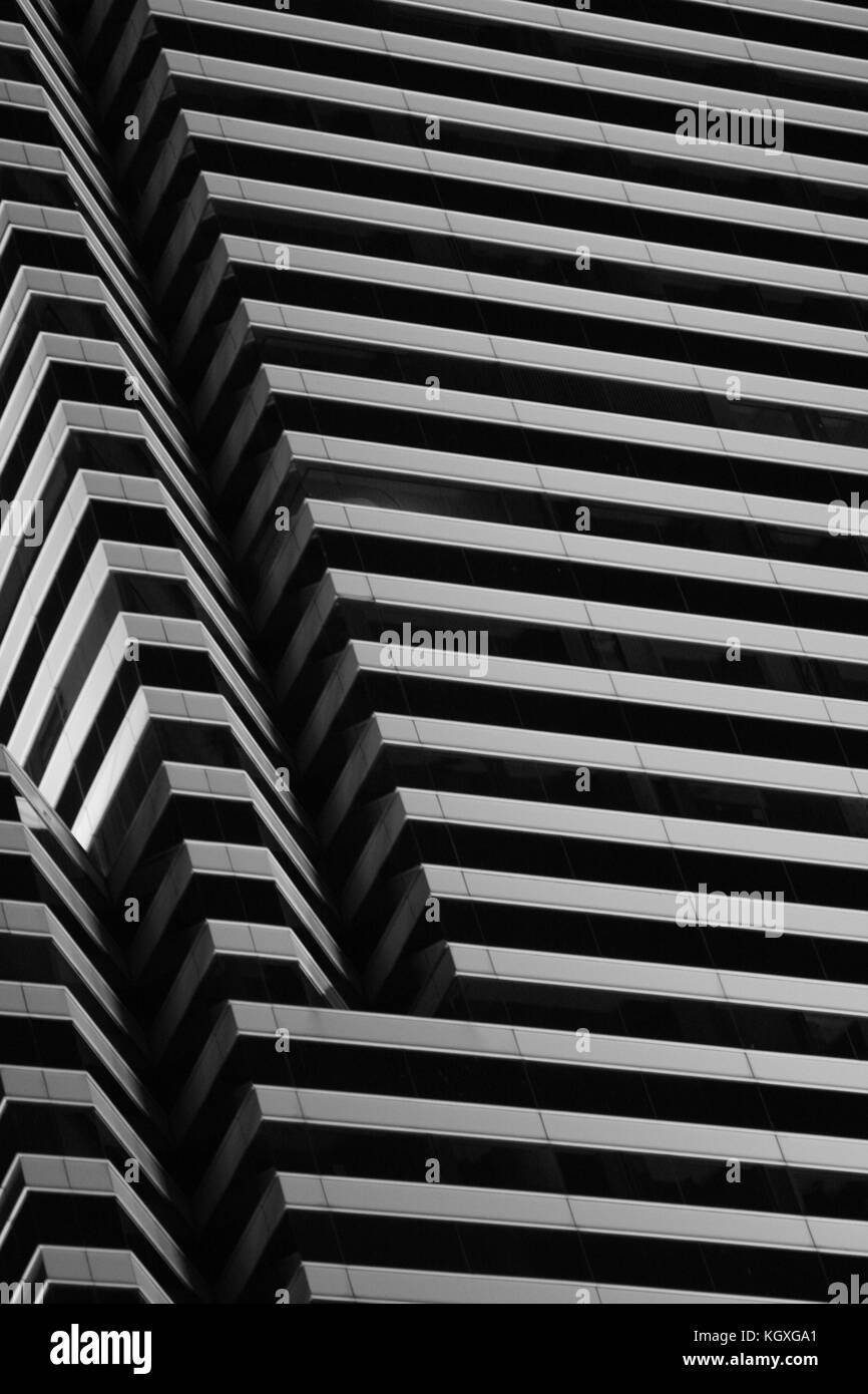 The distinctive lines of one of the trhee glass tiers of the Miami Tower, formerly Centrust Building and Bank of - Stock Image