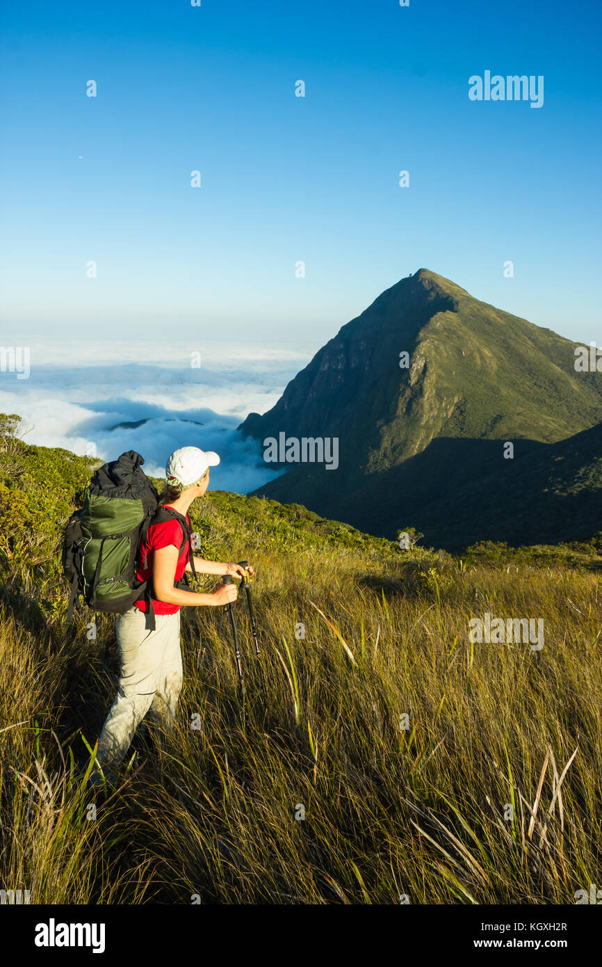 Brazilian Woman Hiking with Backpack and Trekking Poles in Pico Parana State Park - Brazil - Stock Image