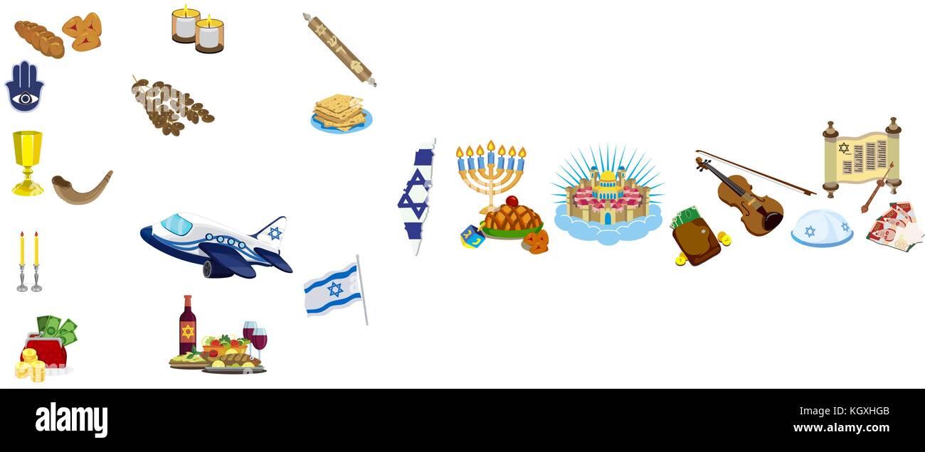Judaism traditional symbols icons set and jewish symbols - Stock Image