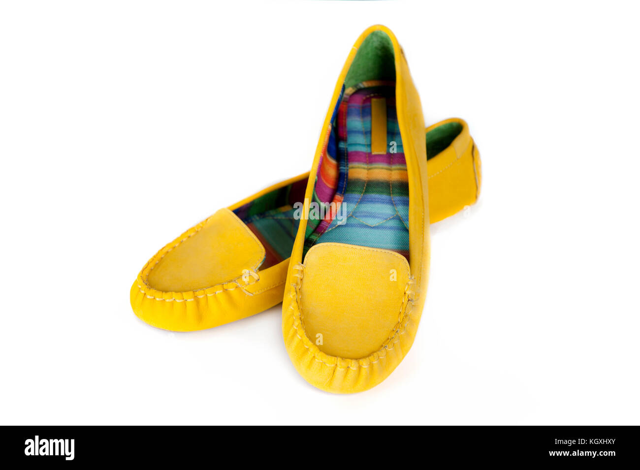 97827641dac Beautiful yellow women shoes isolated on white background Stock ...