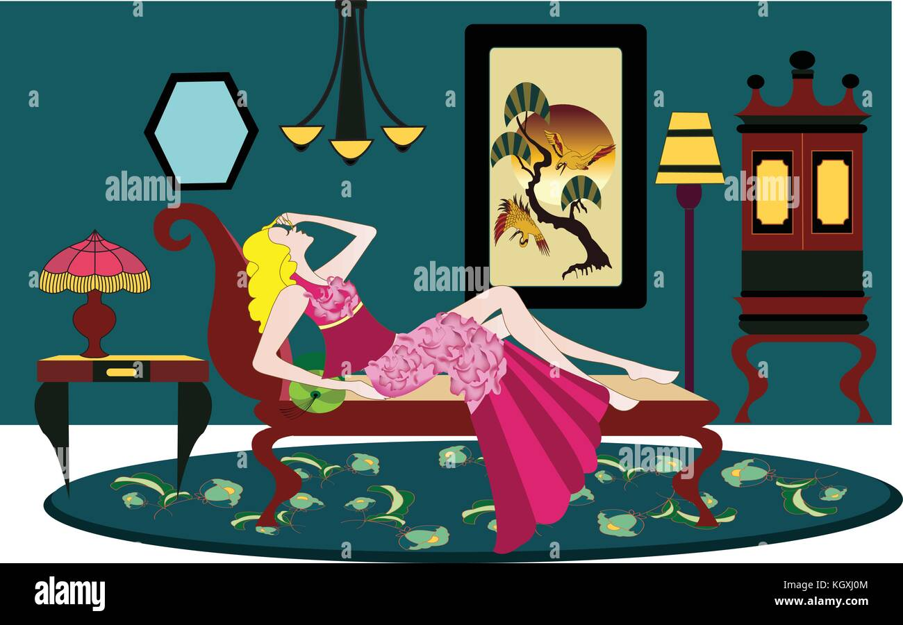 art deco room with woman sitting on the sofa - Stock Vector