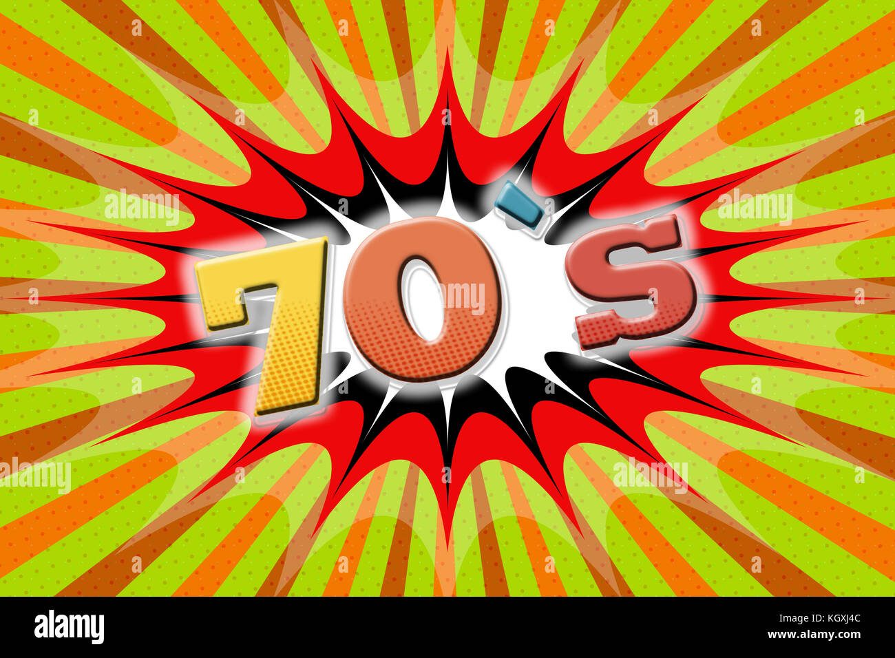 "Inscription ""70`s"" in cartoon style Stock Photo"