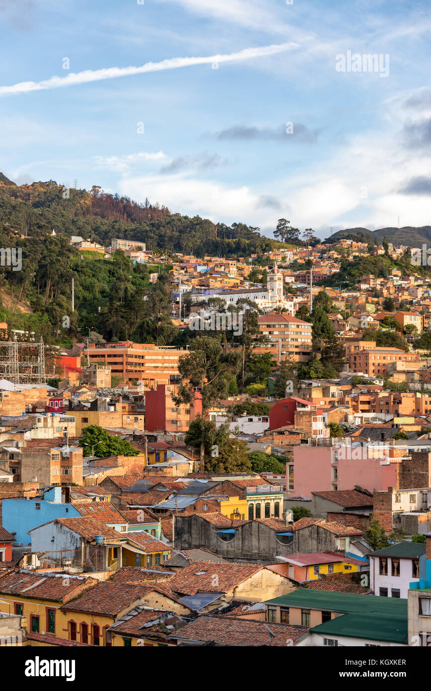 Vertical view of La Candelaria neighborhood in the center of Bogota, Colombia - Stock Image