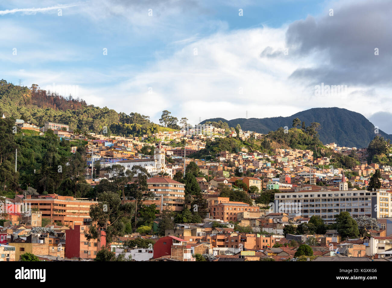 View of the neighborhoods of La Candelaria and Egipto in the historic center of Bogota, Colombia - Stock Image