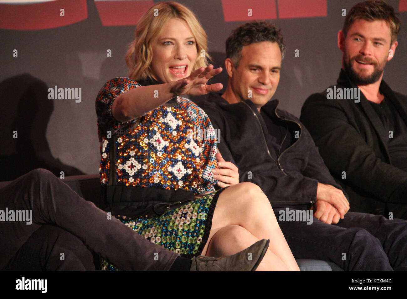 Cate Blanchett, Mark Ruffalo, Chris Hemsworth  10/11/2017 'Thor: Ragnarok' Press Conference held at Montage - Stock Image