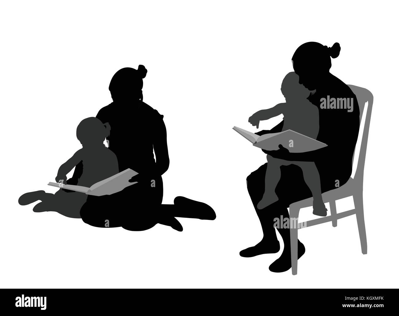 mother reading book to child silhouettes - vector - Stock Vector
