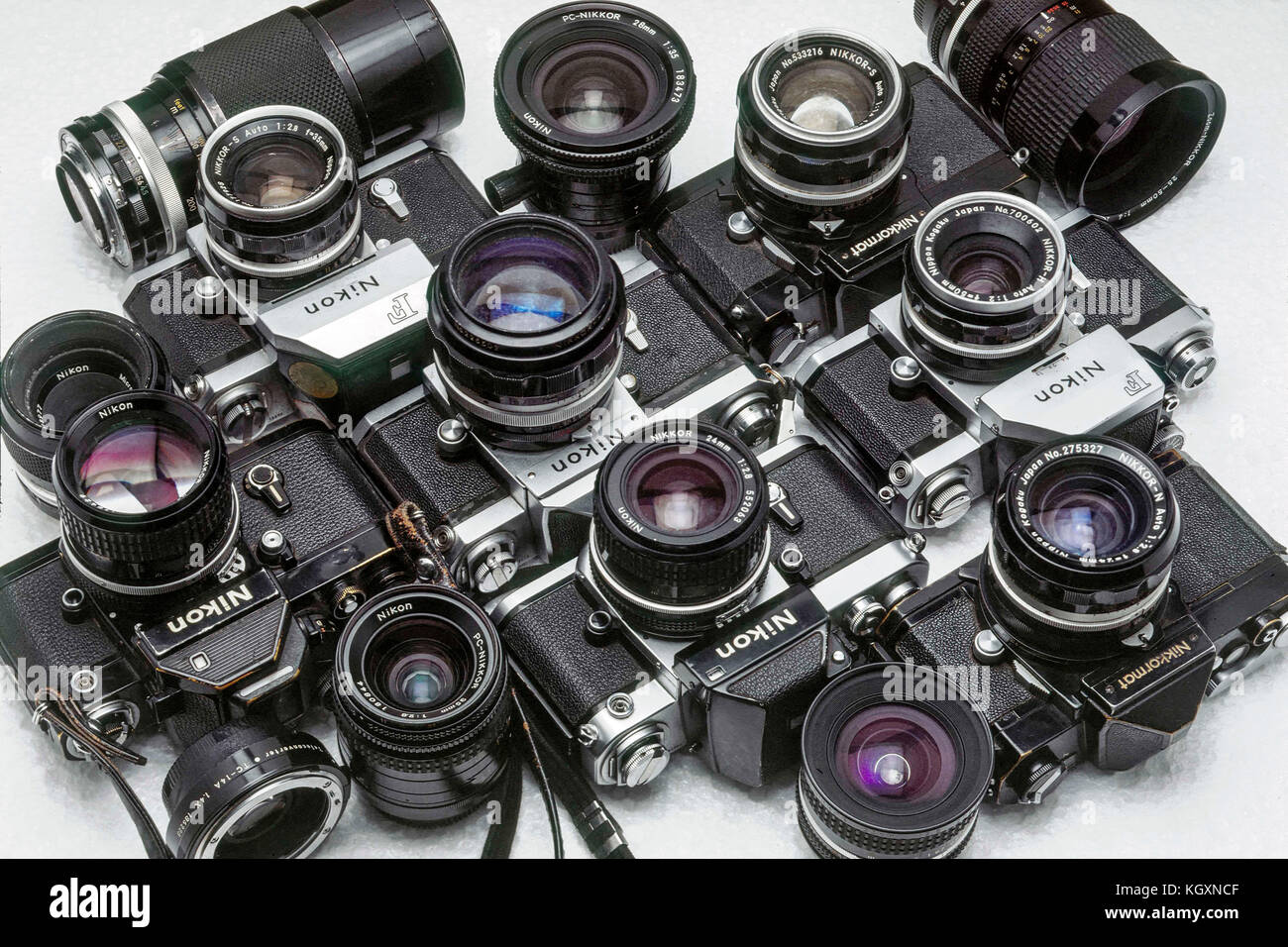 Nikon old 35mm film cameras and lenses - Stock Image