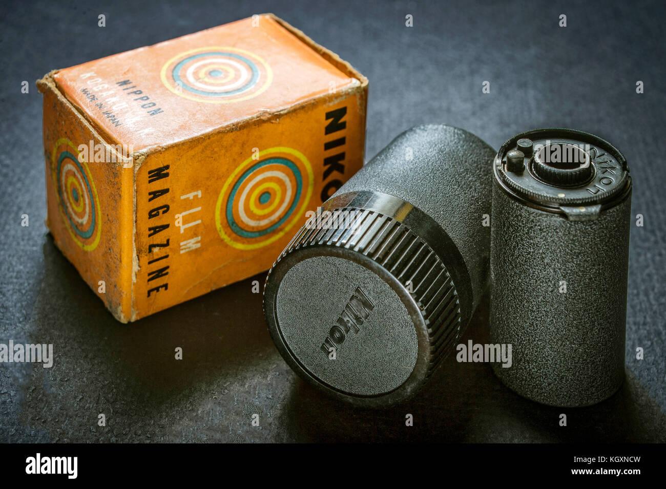 Vintage Nikon Rangefinder Reloadable Film Magazine - Stock Image