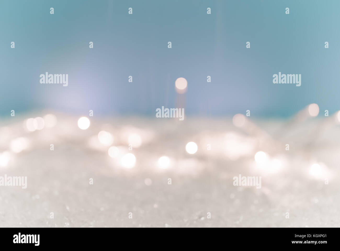 Christmas Background Snow lights Stock Photo