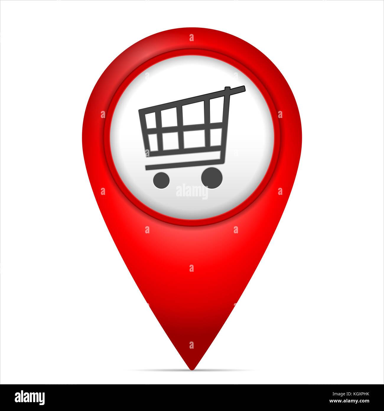 Map marker with shopping cart symbol on a white background ... on mod symbols, power symbols, crane symbols, sport symbols, baltimore symbols, cd symbols, race symbols, state symbols, real symbols, cook symbols,