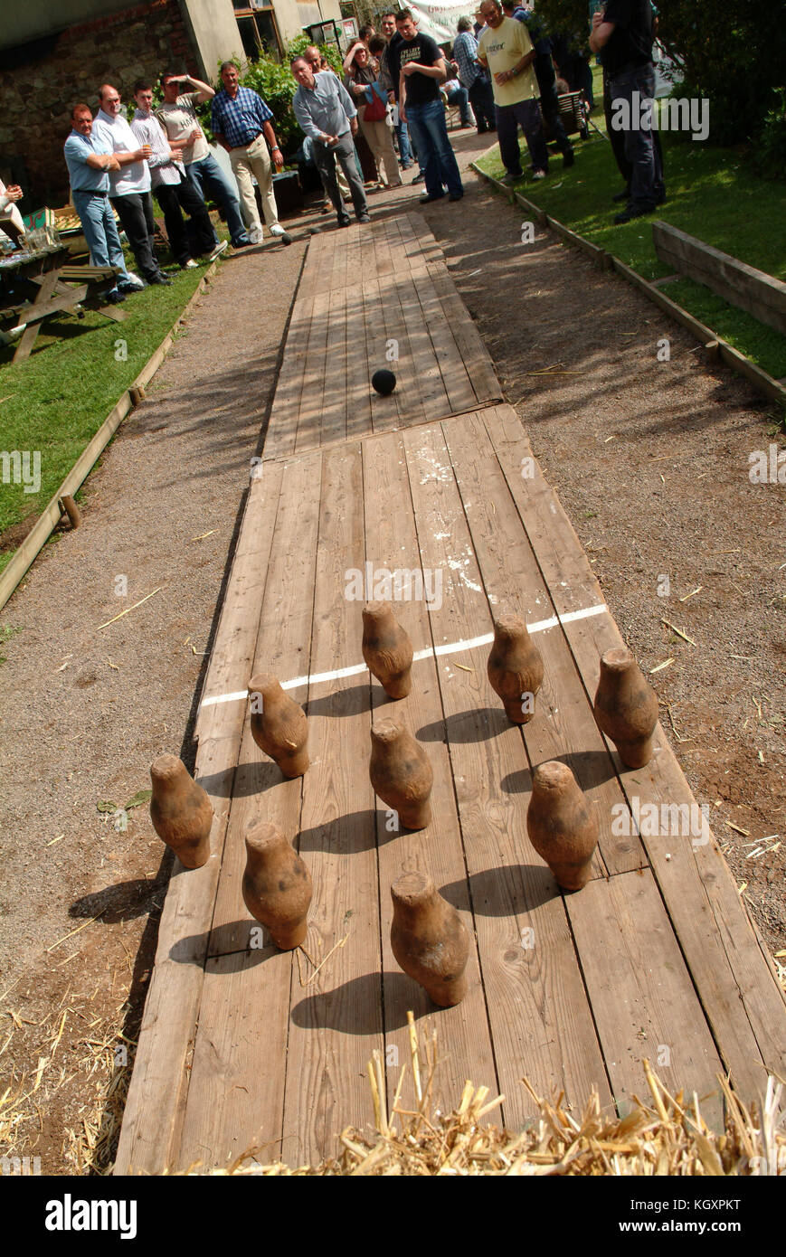 Outdoor skittles at a Welsh public house. - Stock Image