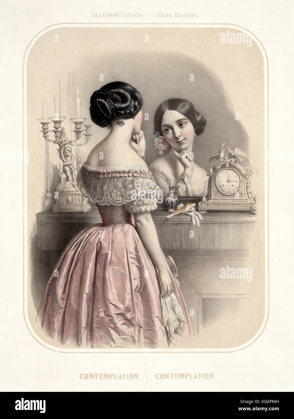 Old illustration depicting woman looking at herself in a mirror. By Alophe, publ. in New York, 1851 - Stock Image