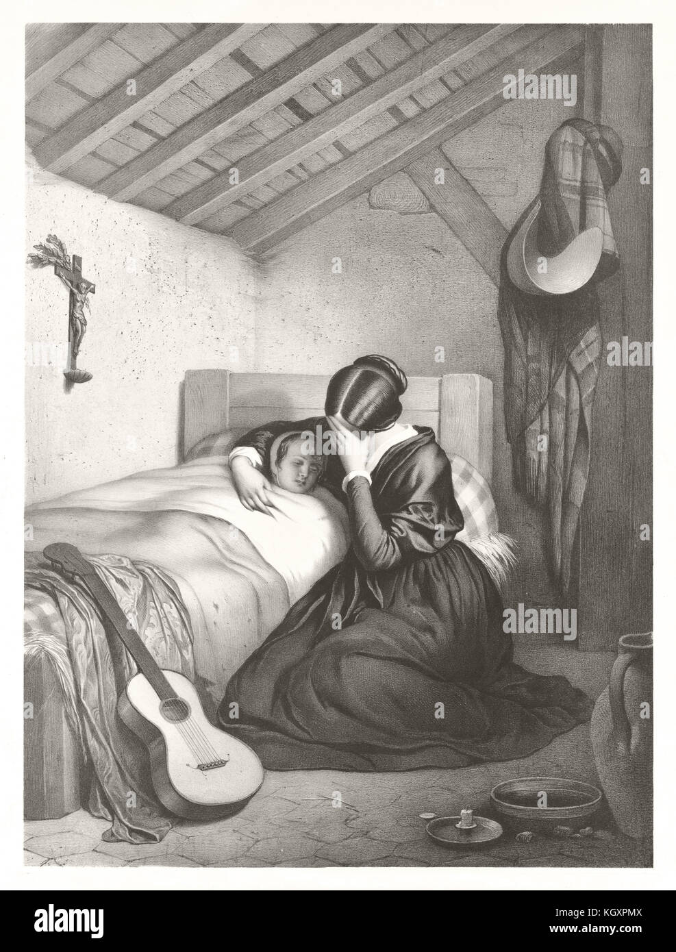 Old illustration depicting heartbroken mother at the bedside of her sick daughter. By Alophe, publ. in Paris, 1852 - Stock Image